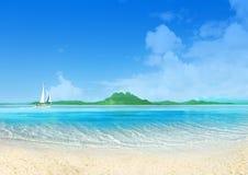 Marine landscape with sailing boat Stock Image
