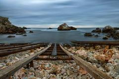 Marine landscape from Tjulenovo village, Bulgaria, Eastern Europe. Selective focus royalty free stock photography