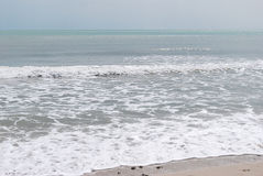 Marine landscape. Marine waves are broken over a bank Stock Photo