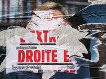 Marine Le Pen ha vandalizzato il manifesto in secondo luogo che vota intorno al presi della Francia Immagine Stock