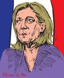 Marine Le Pen Marion Anne Perrine Le Pen, Franse politicus, de voorzitter van de Nationale Voorzijde, Franse presidentiële kandid Royalty-vrije Stock Afbeeldingen