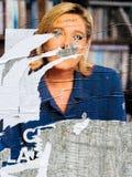 Marine Le Pen plakat uszkadzający Obrazy Stock