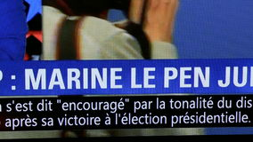 Marine Le Pen reaction on Trump president election. PARIS, FRANCE - NOV 9, 2016: Watching on French TV Marine Le Pen candidate after USA election results  as stock footage