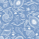Marine lie seamless pattern. Seashell, turtle, mollusk, ocean wa Stock Images