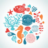 Marine life. Set of marine life in form of round Royalty Free Stock Image