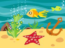 Marine life. An illustration of life under the sea waters Royalty Free Stock Photo