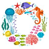 Marine life background design with sea animals Stock Photography