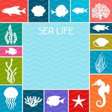 Marine life background design with sea animals Stock Photos