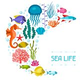Marine life background design with sea animals Stock Images