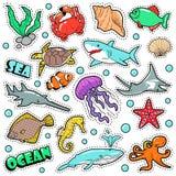 Marine Life Badges, toppe, autoadesivi - polipo della tartaruga dello squalo del pesce nello stile comico Natura dell'oceano e de Fotografia Stock Libera da Diritti