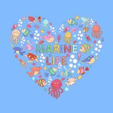 Marine life on blue background. With fish, turtle,shell,seaweed,jellyfish,coral,sea urchins,fish Hammer,lobster,bubbles in the shape of heart with text Stock Photo