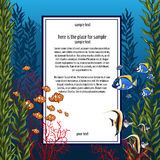 Marine life in bright colors and vertical card Stock Photo