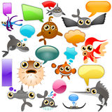 Marine life cartoon character. Vector set of marine life cartoon character Stock Images