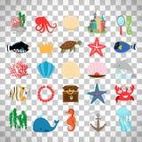 Marine life and cartoon ocean animals Stock Photos
