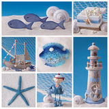 Marine life collage stock image