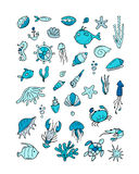 Marine life, collection of sketches for your design Royalty Free Stock Images