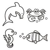 Marine life - coloring book. Coloring book for kids - dolphin,crab,seahorse and fish Royalty Free Stock Images