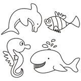 Marine life - coloring Stock Photography