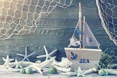 Marine life decoration. On blue shabby background Royalty Free Stock Image