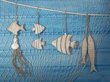 Marine life decoration. And on blue shabby background Stock Image