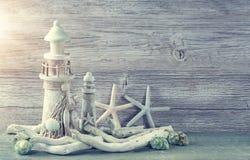 Marine life decoration. On grey shabby background Stock Photo