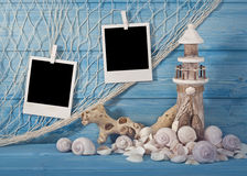 Marine life decoration and  instant photos Royalty Free Stock Image
