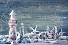 Marine life decoration. On blue shabby background Royalty Free Stock Photo