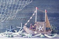 Marine life decoration. On a blue shabby background stock photo