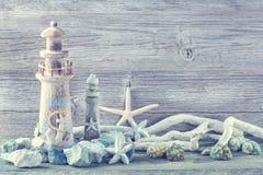 Marine life decoration. On a white shabby background stock image