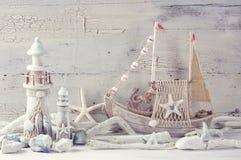 Marine life decoration. On a white shabby background Royalty Free Stock Photography