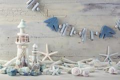 Marine life decoration. On a white shabby background Royalty Free Stock Images
