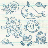 Marine life doodles Royalty Free Stock Photography