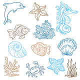 Marine life doodles royalty free illustration
