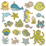 Marine life doodles Royalty Free Stock Image