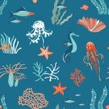Marine Life flat vector seamless pattern background. Underwater animals wildlife