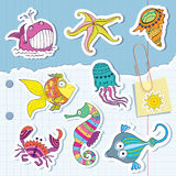 Marine life in the form of stickers Royalty Free Stock Photo