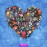 Marine life heart background. Of colorful blots, inks,themed design with fish, turtle,shell,seaweed,jellyfish,coral,sea urchins,fish Hammer,lobster,bubbles in Royalty Free Stock Photos