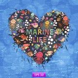 Marine life heart background Royalty Free Stock Photos