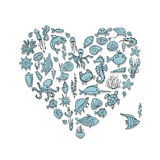 Marine life, heart shape sketch for your design Royalty Free Stock Photos