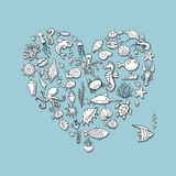 Marine life, heart shape sketch for your design Stock Photography