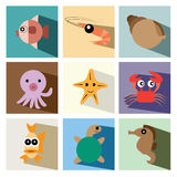 Marine life icon set  illustration eps10 Royalty Free Stock Photos