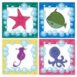 Marine life icons Stock Images