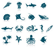 Marine Life Icons Royalty Free Stock Images