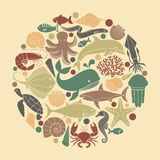 Marine life icons in the form of a circle. Silhouettes of sea inhabitants. Vector flat illustration Royalty Free Stock Photo