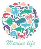 Marine life icons in the form of a circle. Silhouettes of sea inhabitants. Vector flat illustration Royalty Free Stock Photos