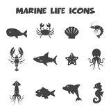 Marine life icons Royalty Free Stock Photo