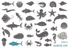 Marine life icons. Silhouettes of sea inhabitants. Vector flat illustration Stock Photos
