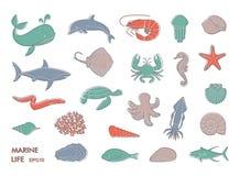 Marine life icons. Silhouettes of sea inhabitants. Vector flat illustration Stock Photo