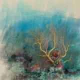 Marine Life-koraalrif onderwaterwaterverf op uitstekende document bedelaars stock illustratie