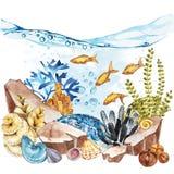 Marine Life Landscape - de oceaan en onderwaterwereld met verschillende inwoners Aquariumconcept voor affiches, T royalty-vrije illustratie